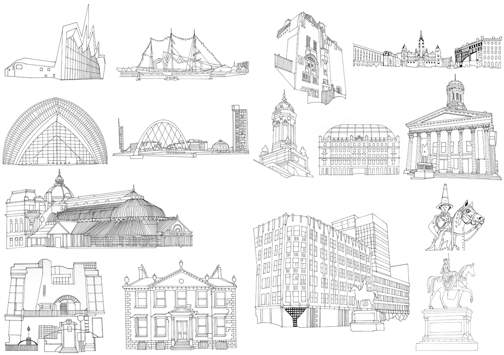 Line Art Building : Buildings line drawings